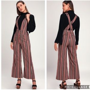🌟Moon River LAURY RUST RED MULTI STRIPE OVERALLS